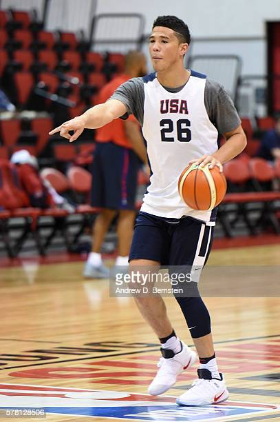 Devin Booker of the USA Basketball Mens Select Team calls a play during practice on July 20 2016 at Cox Pavilion on the University of Nevada Las...