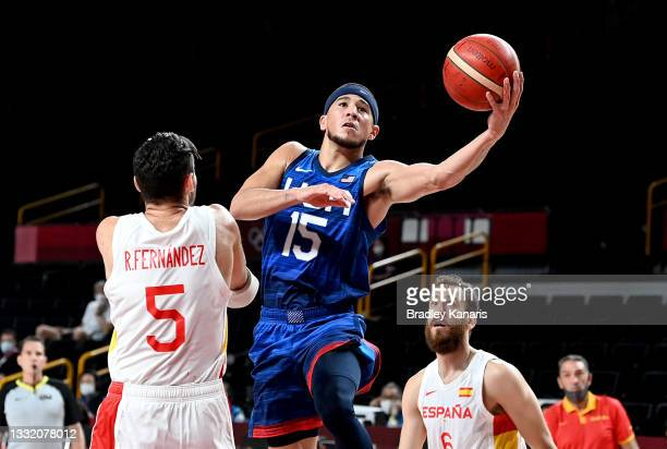Devin Booker of the USA drives to the basket during the quarter final Basketball match between the USA and Spain on day eleven of the Tokyo 2020...