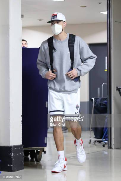 Devin Booker of the USA Men's National Team departs for the USA Men's National Team practice on August 6, 2021 in Tokyo, Japan. NOTE TO USER: User...