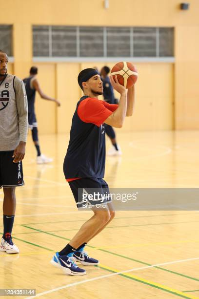 Devin Booker of the USA Men's National Team shoots the ball during USAB Mens National Team practice on July 29, 2021 in Tokyo, Japan. NOTE TO USER:...