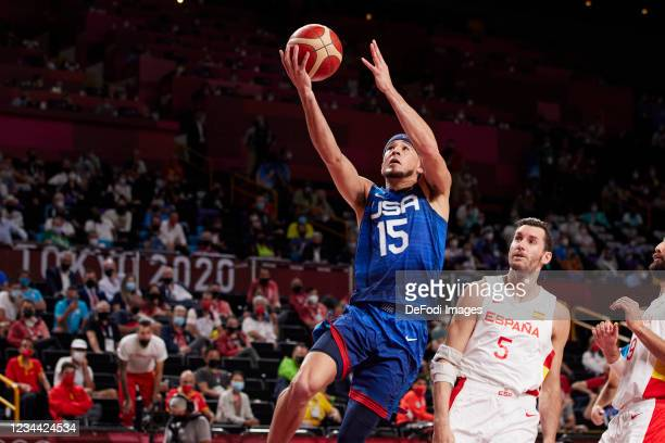 Devin Booker of USA controls the ball in the Basketball Quarterfinal Match between the United States and Spain on day eleven of the Tokyo 2020...