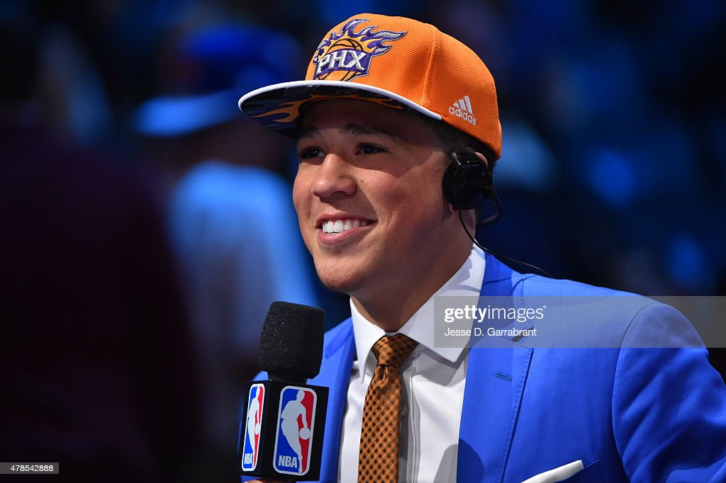 Devin Booker the 13th pick overall in the 2015 NBA Draft by the Phoenix Suns speaks to the media during the 2015 NBA Draft at the Barclays Center on June 25, 2015 in the Brooklyn borough of New York City.