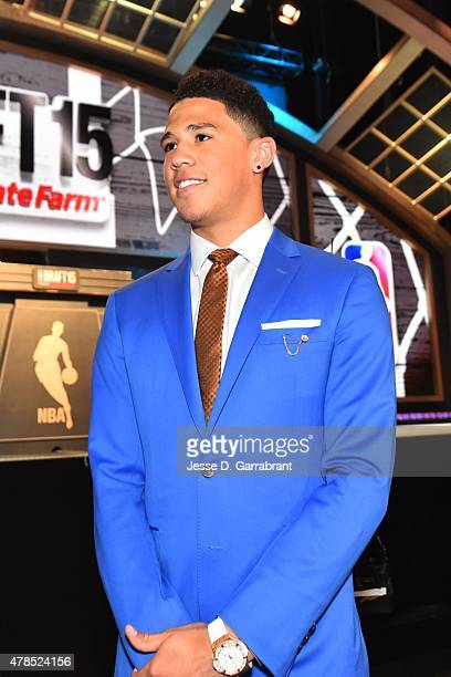 Devin Booker waits for the 2015 NBA Draft to begin at the Barclays Center on June 25 2015 in the Brooklyn borough of New York City NOTE TO USER User...