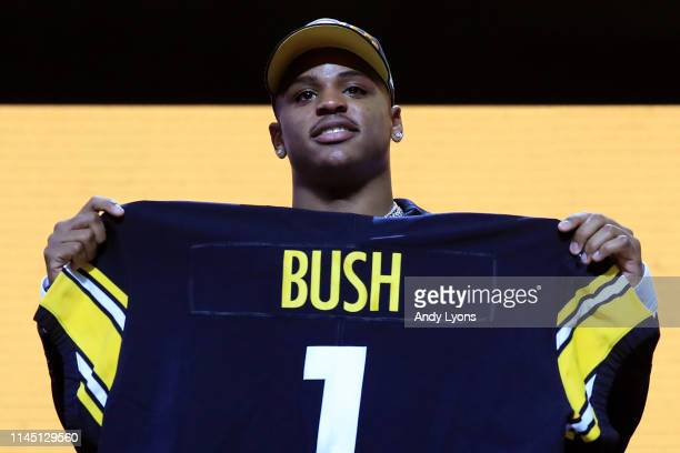 Devin Bush of Michigan reacts after being chosen overall by the Pittsburgh Steelers during the first round of the 2019 NFL Draft on April 25 2019 in...