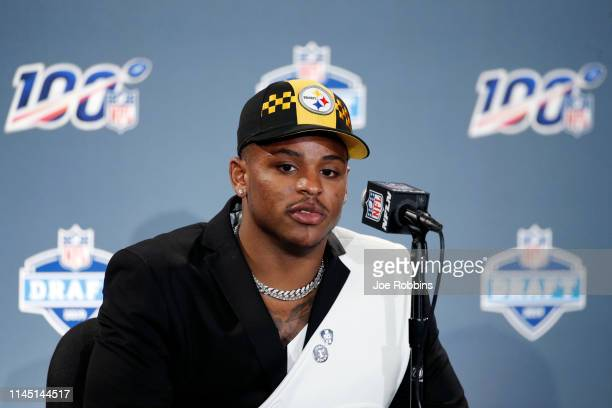 Devin Bush of Michigan speaks to the media after being selected with the tenth pick in the first round of the NFL Draft by the Pittsburgh Steelers on...