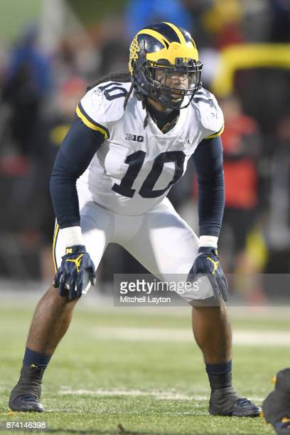 Devin Bush of the Michigan Wolverines in position during a college football game against the Maryland Terrapins at Capitol One Field on November 11...