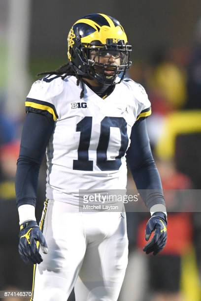 Devin Bush of the Michigan Wolverines looks on during a college football game against the Maryland Terrapins at Capitol One Field on November 11 2017...