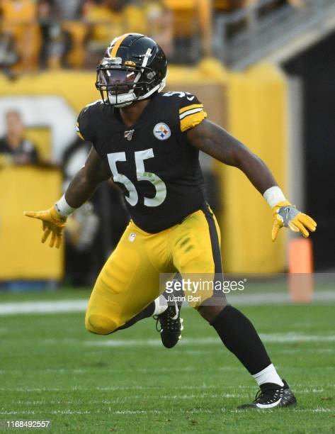 Devin Bush of the Pittsburgh Steelers in action during a preseason game against the Tampa Bay Buccaneers at Heinz Field on August 9 2019 in...