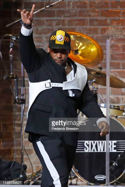 Devin Bush reacts after being drafted tenth overall by the Pittsburgh Steelers on day 1 of the 2019 NFL Draft on April 25 2019 in Nashville Tennessee