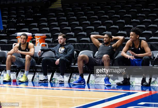 Devin Cannady, Joe Cremo, C.J. Massinburg and Jaylen Hands of the Long Island Nets before an NBA G-League game against the Greensboro Swarm on...