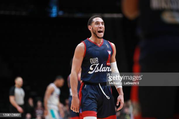 Devin Cannady of the Long Island Nets shows emotion against the Greensboro Swarm during an NBA G-League game on March 8, 2020 at Nassau Veterans...