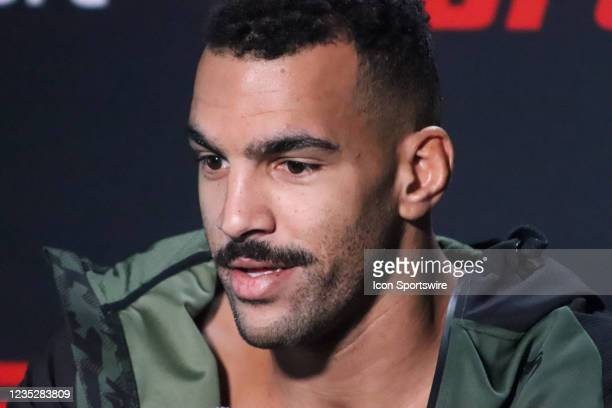 Devin Clark interacts with media during the UFC Vegas 37 Media Day on September 15, 2021 at UFC Apex in Las Vegas, Nevada.