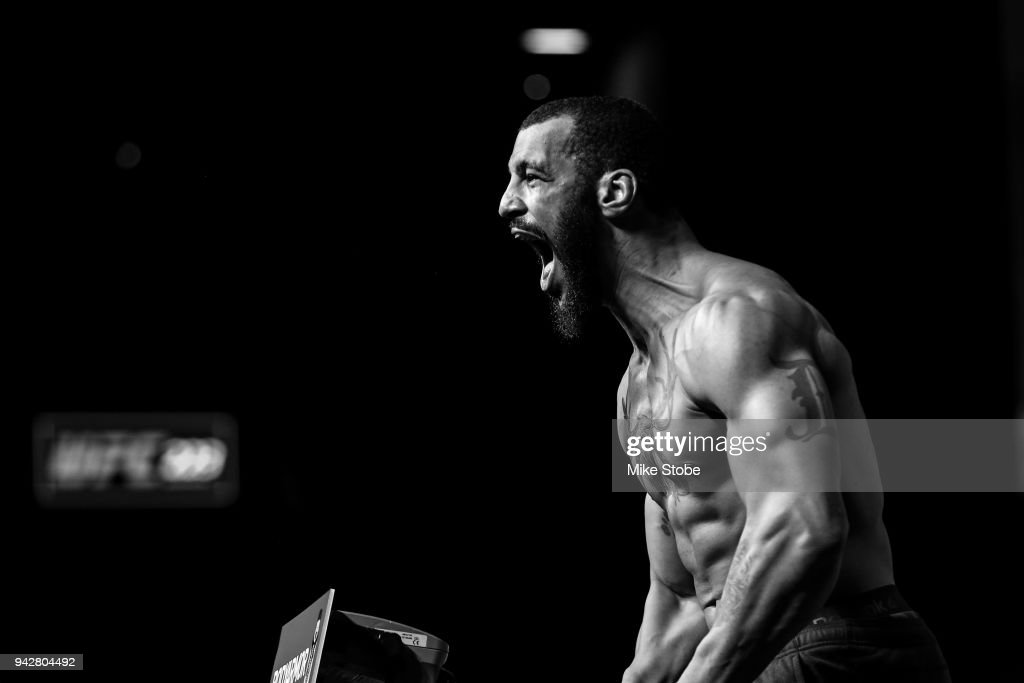 Devin Clark poses on the scale during the UFC 223 official weigh-ins at Barclays Center on April 6, 2018 in New York City.