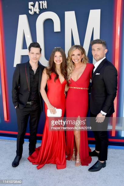 Devin Dawson Leah Sykes Carly Pearce and Michael Ray attend the 54th Academy Of Country Music Awards at MGM Grand Hotel Casino on April 07 2019 in...