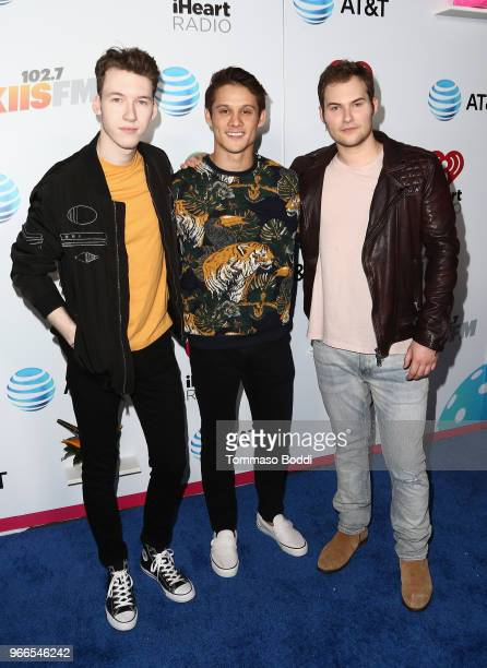 Devin Druid Timothy Granaderos and Justin Prentice arrive at the 2018 iHeartRadio Wango Tango by ATT at Banc of California Stadium on June 2 2018 in...