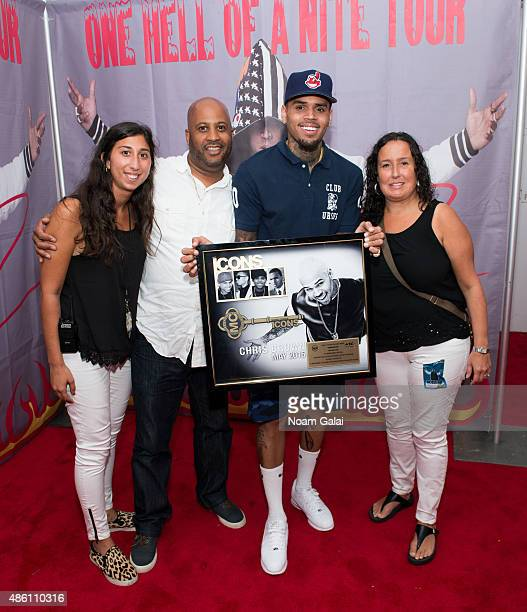 Devin Fassberg of Livenation Damon Williams SVP Programming for Music Choice and Josefa Paganuzzi Director of PR at Music Choice present Chris Brown...