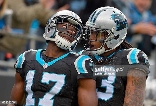 Devin Funchess and teammate Kelvin Benjamin of the Carolina Panthers celebrate a 2nd quarter touchdown against the Kansas City Chiefs during the game...