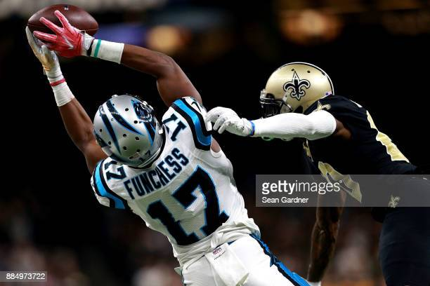 Devin Funchess of the Carolina Panthers catches a pass over Ken Crawley of the New Orleans Saints during the second half of a NFL game at the...