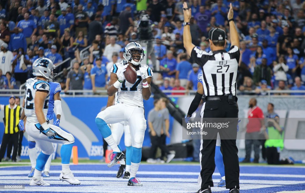 Devin Funchess #17 of the Carolina Panthers celebrates a second quarter touchdowns during the game against the Detroit Lions at Ford Field on October 8, 2017 in Detroit, Michigan.