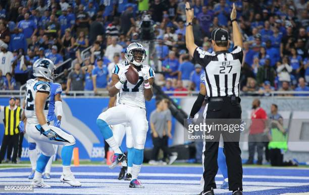 Devin Funchess of the Carolina Panthers celebrates a second quarter touchdowns during the game against the Detroit Lions at Ford Field on October 8...