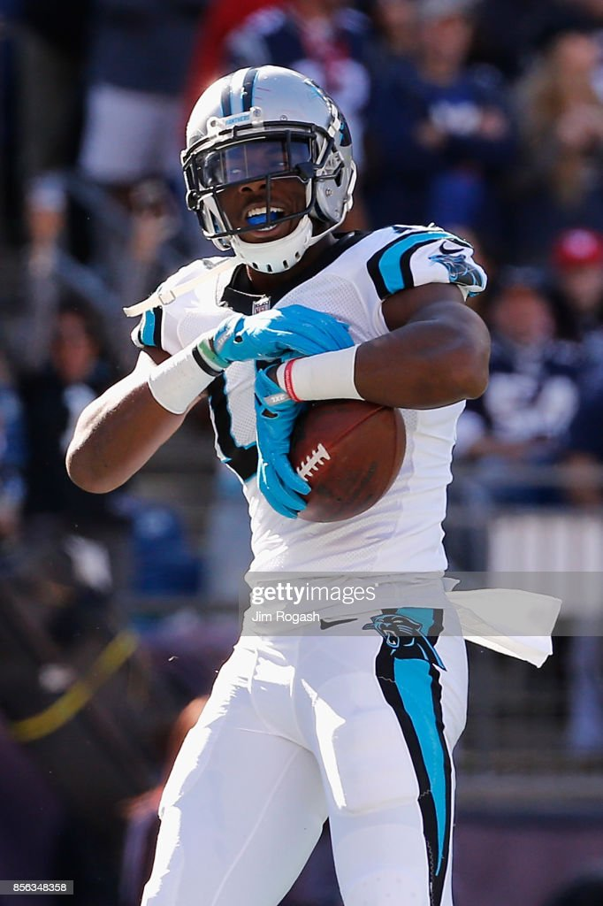 Devin Funchess #17 of the Carolina Panthers celebrates scoring a touchdown during the third quarter against the New England Patriots at Gillette Stadium on October 1, 2017 in Foxboro, Massachusetts.
