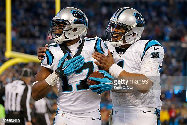 Devin Funchess of the Carolina Panthers celebrates with Cam Newton after scoring a touchdown in the fourth quarter against the Arizona Cardinals...