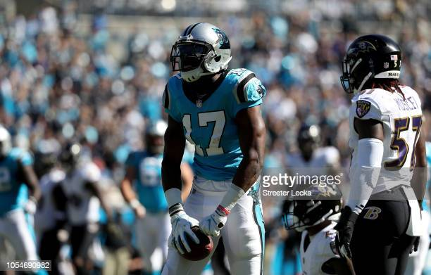 Devin Funchess of the Carolina Panthers indicates a first down against CJ Mosley of the Baltimore Ravens in the second quarter during their game at...