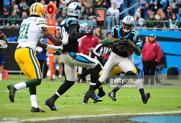 Devin Funchess of the Carolina Panthers makes a catch for a touchdown against Damarious Randall of the Green Bay Packers at Bank Of America Stadium...
