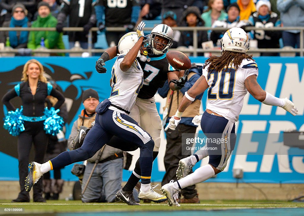 Devin Funchess #17 of the Carolina Panthers reaches for the ball against the San Diego Chargers in the second quarter during the game at Bank of America Stadium on December 11, 2016 in Charlotte, North Carolina.