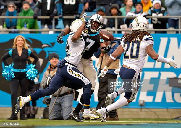 Devin Funchess of the Carolina Panthers reaches for the ball against the San Diego Chargers in the second quarter during the game at Bank of America...