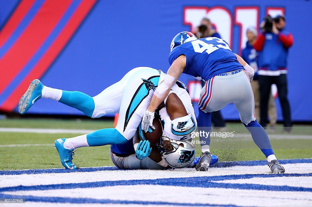 Devin Funchess #17 of the Carolina Panthers scores a 14 yard touchdown in the second quarter against the New York Giants during their game at MetLife Stadium on December 20, 2015 in East Rutherford, New Jersey.