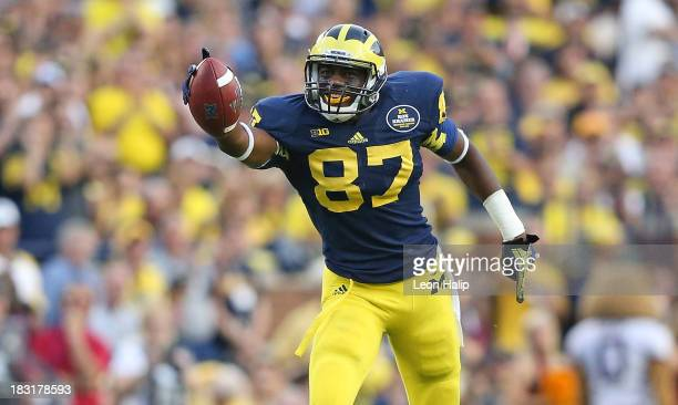 Devin Funchess of the Michigan Wolverines celebrates after catching a 46 yard pass during the fourth quarter of the game against the Minnesota Golden...