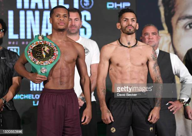 Devin Haney and Jorge Linares pose during the ceremonial weigh-in at Mandalay Bay Resort and Casino on May 28, 2021 in Las Vegas, Nevada. The two...