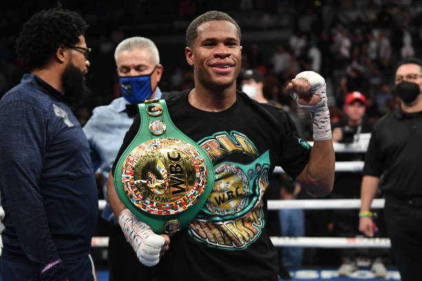 Devin Haney poses after retaining his title of the WBC lightweight champion against Jorge Linares at Michelob ULTRA Arena on May 29, 2021 in Las...