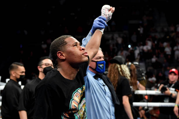 Devin Haney poses after retaining his WBC lightweight title against Jorge Linares at Michelob ULTRA Arena on May 29, 2021 in Las Vegas, Nevada.