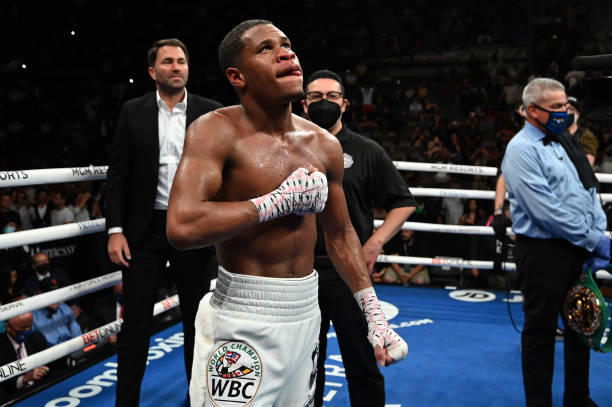 Devin Haney reacts after defeating Jorge Linares in a WBC lightweight fight against Jorge Linares at Michelob ULTRA Arena on May 29, 2021 in Las...