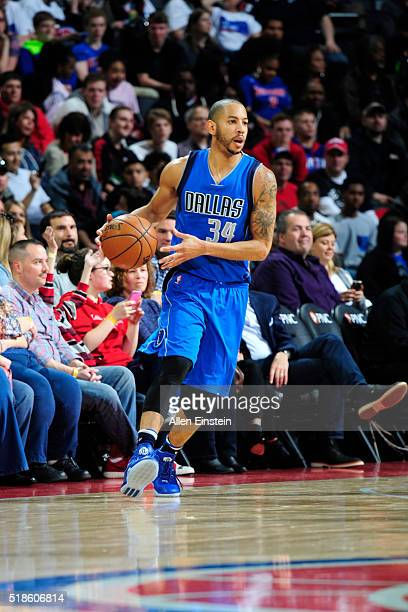 Devin Harris of the Dallas Mavericks dribbles the ball against the Detroit Pistons on April 1 2016 at The Palace of Auburn Hills in Auburn Hills...