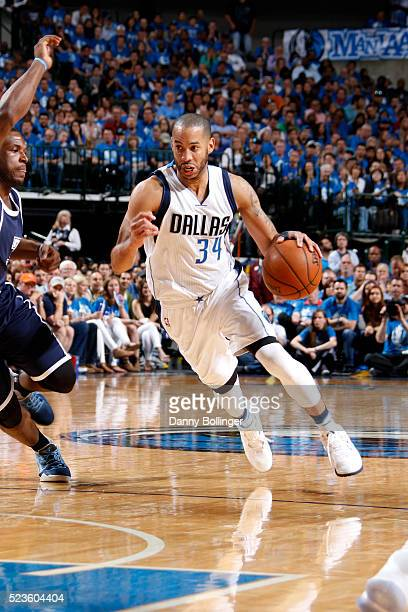 Devin Harris of the Dallas Mavericks drives against the Oklahoma City Thunder in Game Four of the Western Conference Quarterfinals of the 2016 NBA...