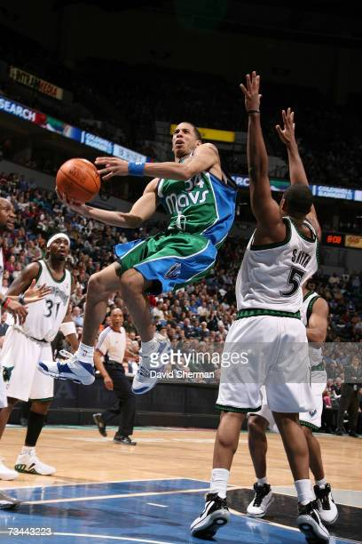 Devin Harris of the Dallas Mavericks drives to the basket against Craig Smith of the Minnesota Timberwolves on February 27 2007 at the Target Center...