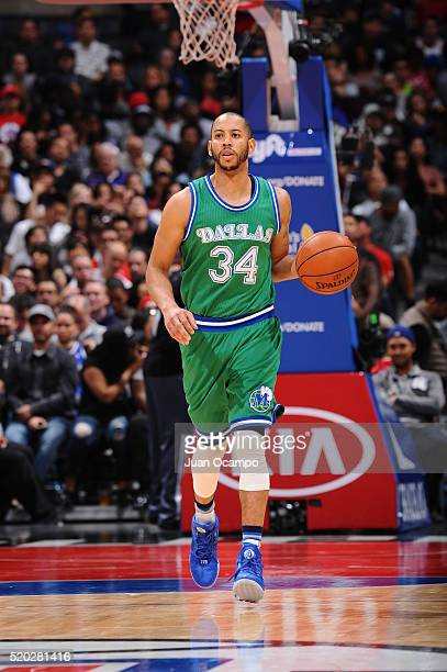 Devin Harris of the Dallas Mavericks drives to the basket against the Los Angeles Clippers during the game on April 10 2016 at STAPLES Center in Los...