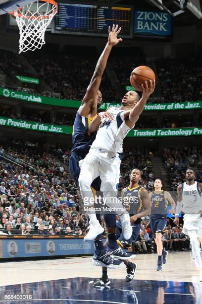 Devin Harris of the Dallas Mavericks drives to the basket against the Utah Jazz on October 30 2017 at Vivint Smart Home Arena in Salt Lake City Utah...