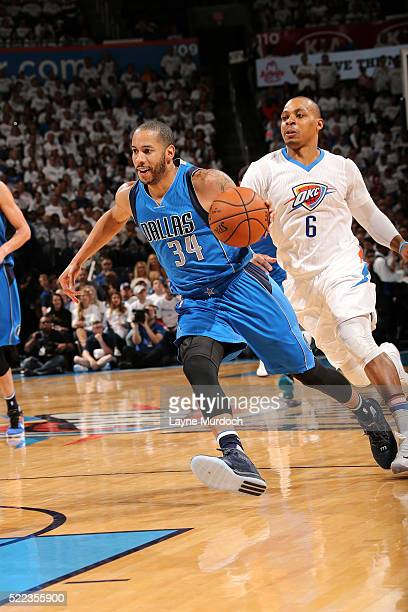 Devin Harris of the Dallas Mavericks drives to the basket during the game against the Oklahoma City Thunder in Game Two of the Western Conference...