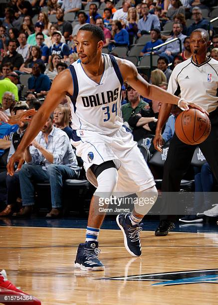 Devin Harris of the Dallas Mavericks handles the ball against the Houston Rockets during a preseason game on October 19 2016 at the American Airlines...