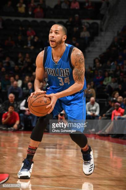 Devin Harris of the Dallas Mavericks handles the ball against the Detroit Pistons on February 15 2017 at The Palace of Auburn Hills in Auburn Hills...
