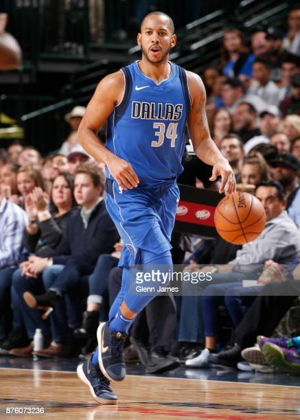 Devin Harris of the Dallas Mavericks handles the ball against the Milwaukee Bucks on Novemeber 18 2017 at the American Airlines Center in Dallas...