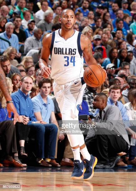 Devin Harris of the Dallas Mavericks handles the ball during a 201718 regular season game against the Atlanta Hawks on October 18 2017 at the...