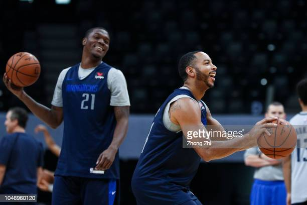 Devin Harris of the Dallas Mavericks in action with Jalen Jones of the Dallas Mavericks during the practice as part of the 2018 NBA China Games...