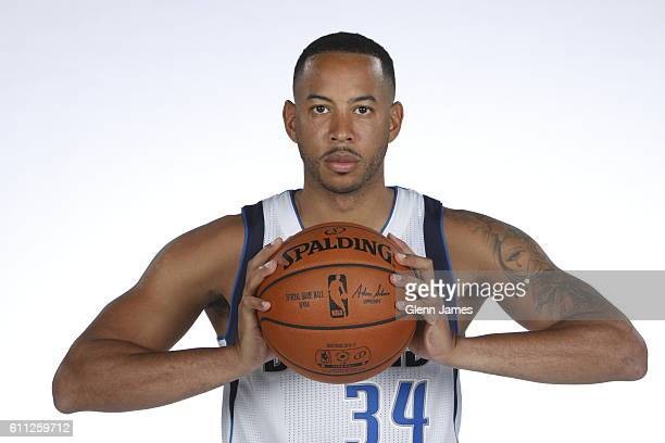 Devin Harris of the Dallas Mavericks poses for a photo during the 20162019 Dallas Mavericks Media Day on September 26 2016 at the American Airlines...