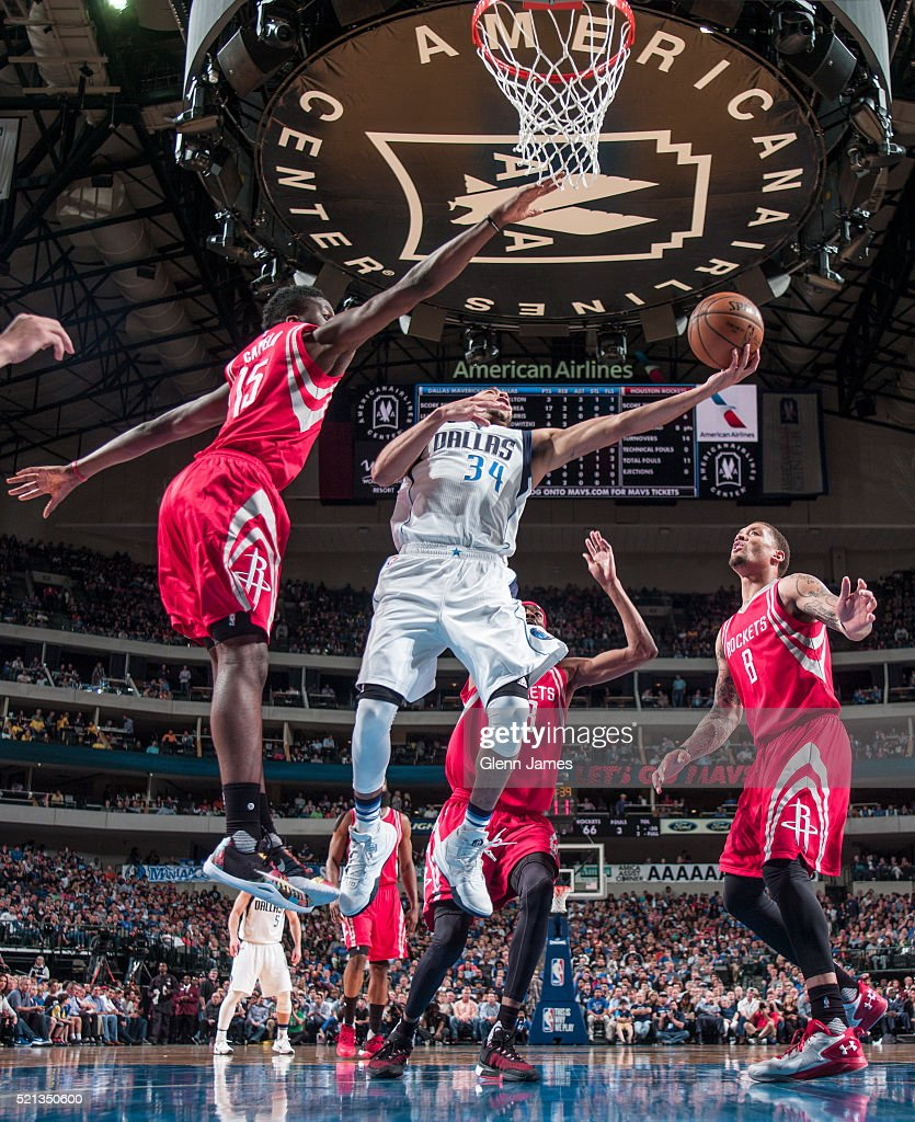 Devin Harris #34 of the Dallas Mavericks shoots the ball against the Houston Rockets on April 6, 2016 at the American Airlines Center in Dallas, Texas.