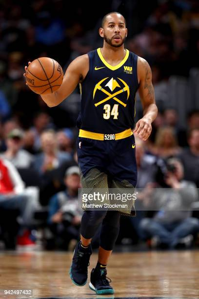 Devin Harris of the Denver Nuggets brings the ball down the court against the Minnesota Timberwolves at the Pepsi Center on April 5 2018 in Denver...